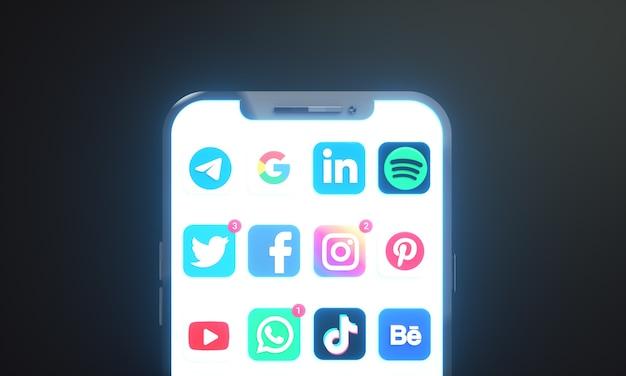 ソーシャルメディアマーケティング用のコピースペースを備えた携帯電話画面上のソーシャルメディアアイコンとロゴ