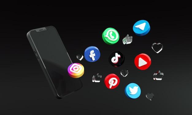 スマートフォンの3dプレミアム写真の周りのソーシャルメディアアイコン