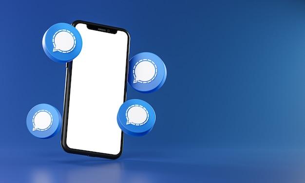 Social media icons around smartphone app mockup 3d