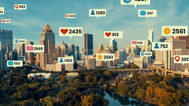 Social media icons fly over city downtown showing people engagement connection