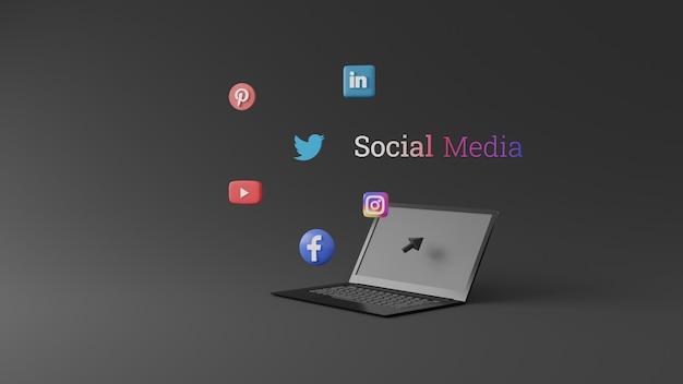 Иконки социальных сетей в 3d-дизайне на экране ноутбука