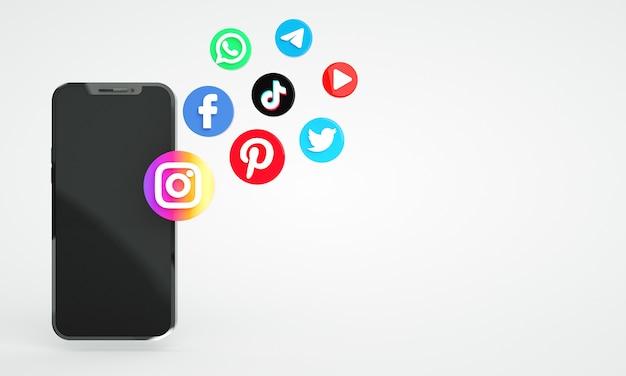 Значки социальных сетей с копией пространства 3d премиум фото