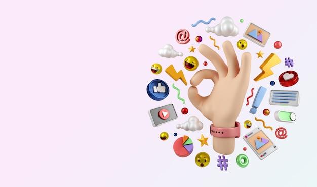 Социальные медиа instagram цифровой маркетинг иллюстрации концепция 3d-рендеринга