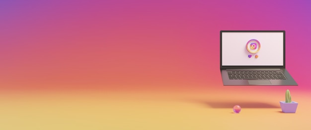 Иконки instagram в социальных сетях и экран ноутбука 3d визуализации