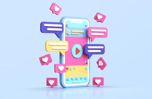 ソーシャルメディアinstagramインターフェース3dレンダリング