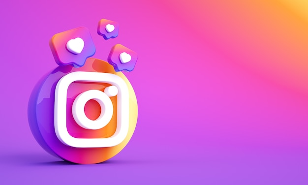 Логотип instagram в социальных сетях с копией пространства и лайками премиум фото