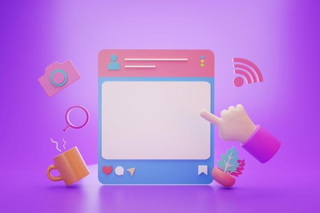 Пост в социальных сетях с пустым банком для текстовой рекламы, 3d-рендеринг