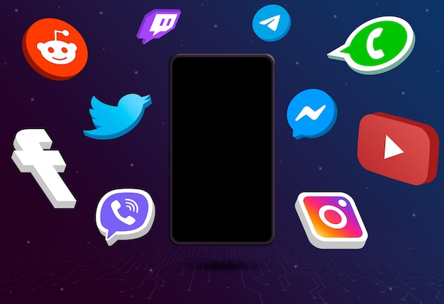 Social media logo icons around phone with blank screen on tech background 3d