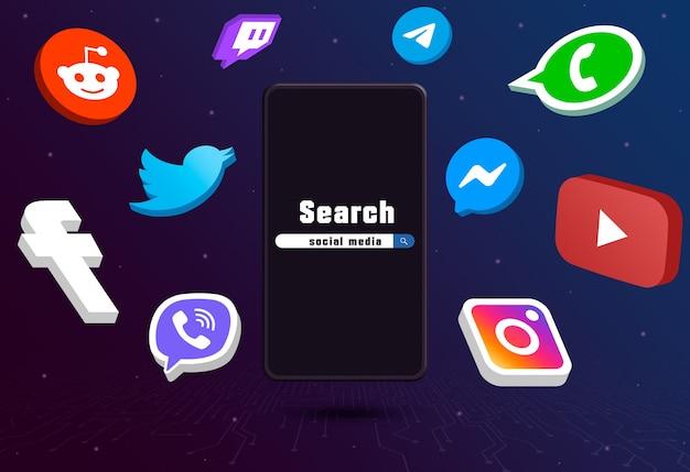 Значки логотипа социальных сетей вокруг телефона с панелью поиска на техническом фоне 3d