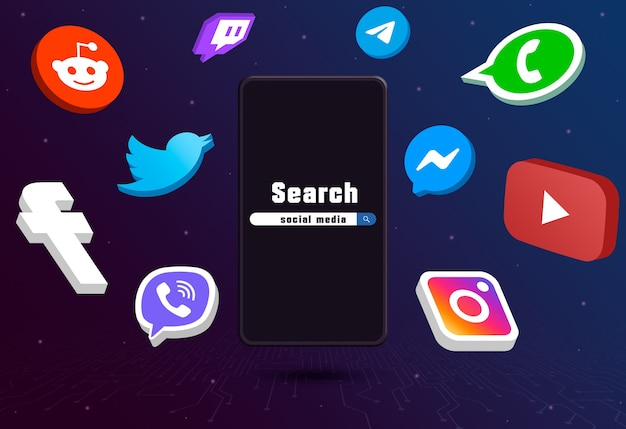 Social media logo icons around phone with search bar on tech background 3d