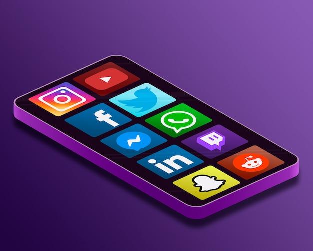Значки логотипа социальных сетей на экране телефона 3d