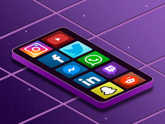화면 전화에 소셜 미디어 로고 아이콘 3d