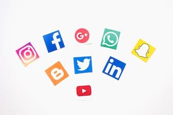 Social media logos over white background