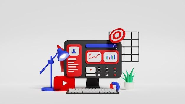 소셜 미디어 마케팅 분석. 유튜브 채널이 성장했습니다. 3d 그림