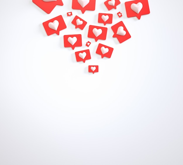 Social media marketing heap of like buttons 3d render