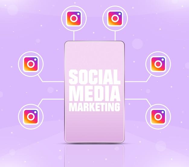 Значок маркетинга в социальных сетях на экране телефона с значками instagram вокруг 3d