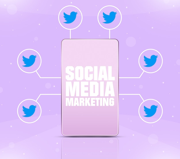 3d 주위에 트위터 아이콘이 있는 전화 화면의 소셜 미디어 마케팅 아이콘