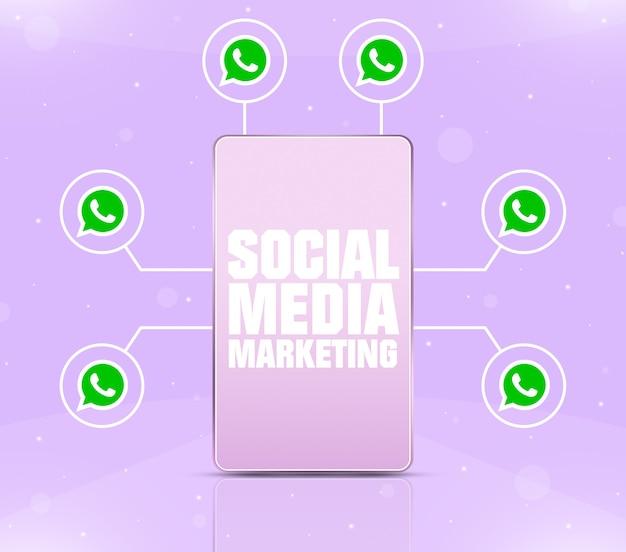 3d 주위에 whatsapp 아이콘이 있는 전화 화면의 소셜 미디어 마케팅 아이콘