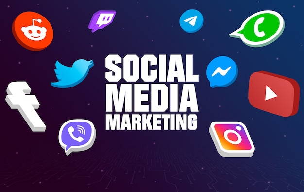 Social media marketing with social icons around on tech background 3d