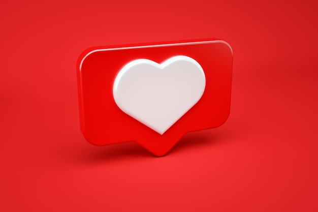 Social media message and notification icon on a red pin with a heart. 3d illustration