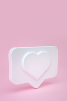 Social media message and notification icon on a white pin with a heart. 3d illustration