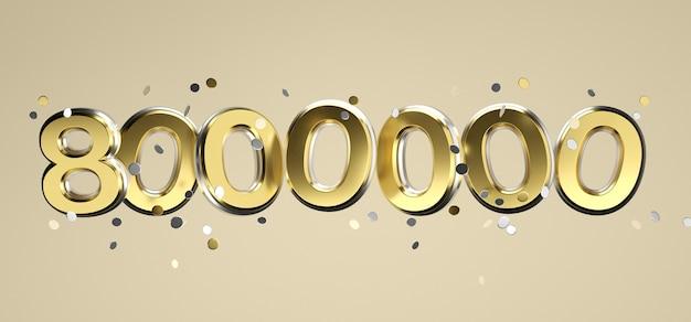Социальная сеть сми любовь и как сердце значок с восемью миллионами подписчиков подписывают на розовом фоне. 3d рендеринг