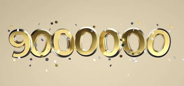 Социальная сеть сми любовь и как сердце значок с девятью миллионами подписчиков подписывают на розовом фоне. 3d рендеринг