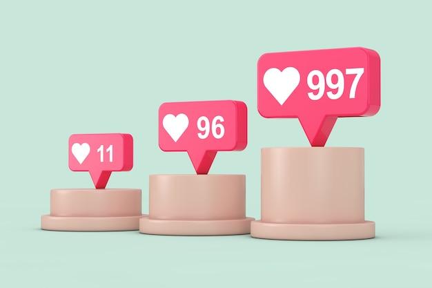 緑の背景に台座、ステージ、表彰台、または列の上にソーシャルメディアネットワークの愛と好きなハートのアイコン。 3dレンダリング