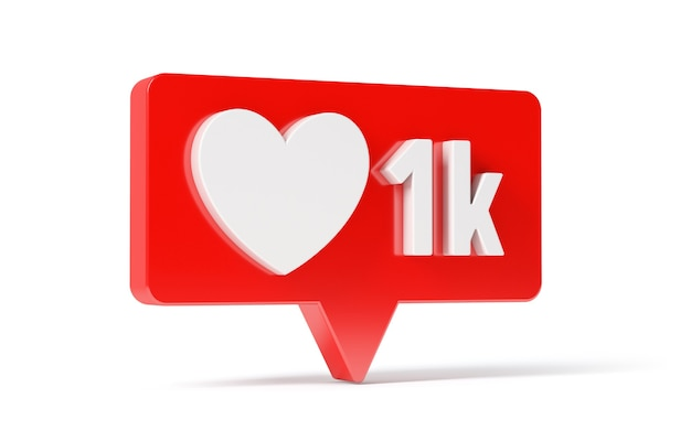 Social media network love and like heart icon, 1 k