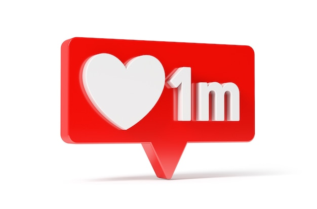 Social media network love and like heart icon, 1 m