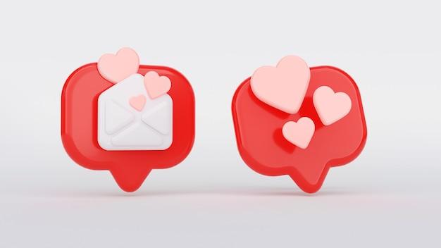 ハートアイコン付きのソーシャルメディア通知。 3dレンダリングのハートの形、アイコンの愛のようなもの。吹き出し、アイコンのような封筒のソーシャルネットワーク。