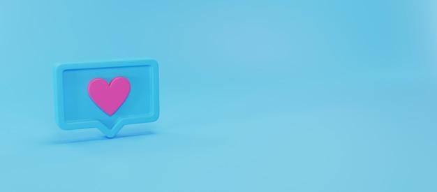 Social media notifications icon, 3d rendering