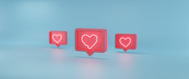 Social media notifications icon, 3d rendering
