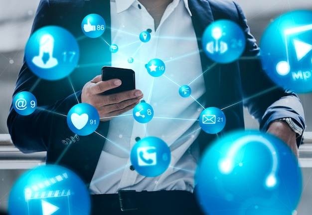 Social media and people network technology concept