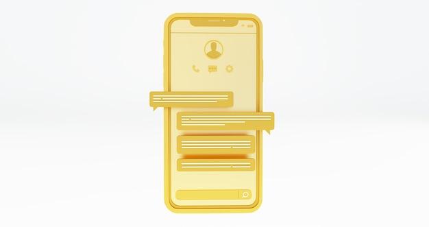 소셜 미디어 플랫폼, 골드 스마트 폰 및 채팅 거품. 3d 렌더링