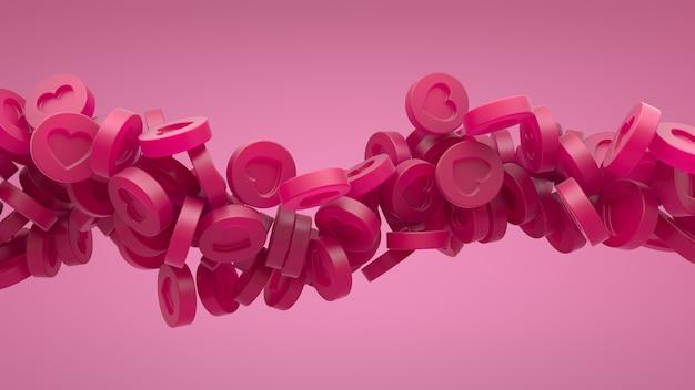 라이트 핑크 레드 벽에 소셜 미디어 레드 하트 서클