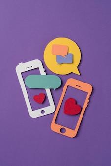 Social media still life with phone shape