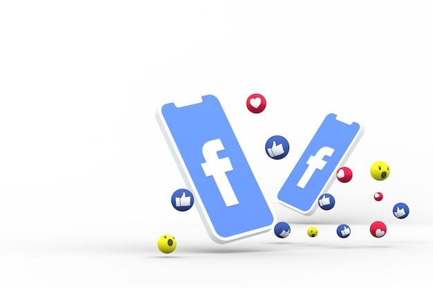 画面上のソーシャルメディアのシンボルスマートフォンまたはモバイルとソーシャルメディアの反応は、絵文字3dレンダリングのように大好きです