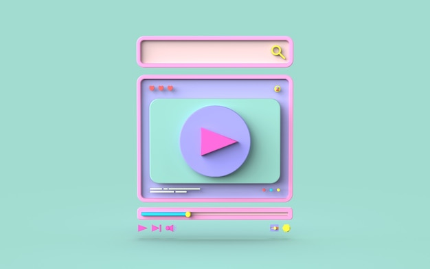 Социальные медиа видео цифровой значок симпатичные иллюстрации поиск, как и играть концепция 3d-рендеринга