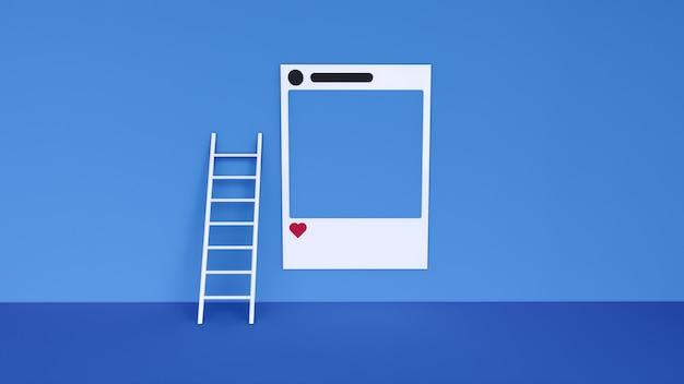 Instagramのフォトフレームと青い背景イラストの幾何学的形状とソーシャルメディア
