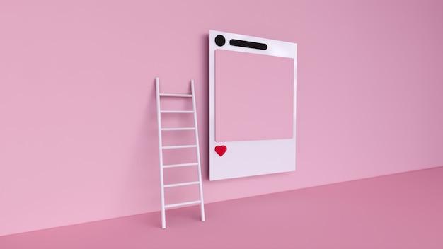 Instagramのフォトフレームとピンクの背景イラストの幾何学的形状とソーシャルメディア