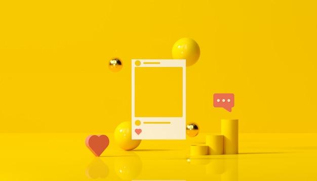 Instagramフォトフレームと黄色の背景の図の幾何学的図形とソーシャルメディア。