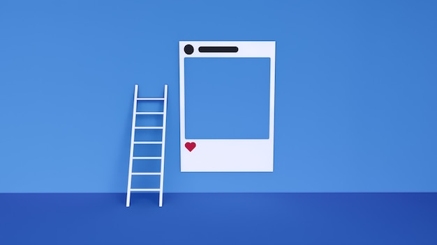 Social media with instagram photo frame and geometric shapes on blue background illustration