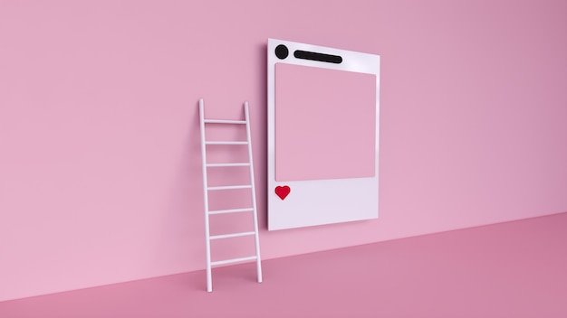 Social media with instagram photo frame and geometric shapes on pink background illustration