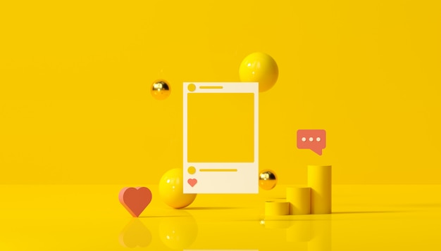 Social media with instagram photo frame and geometric shapes on yellow background illustration.