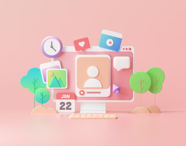 Social media with photo frame, like button, media payer on pink background illustration