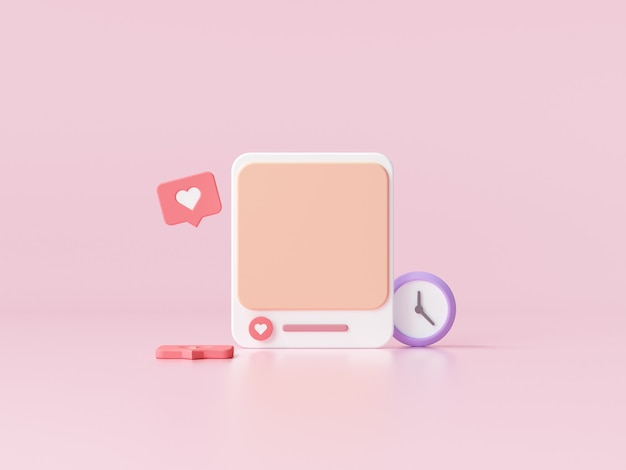 Социальные медиа с фоторамкой на розовом фоне для баннера веб-страницы. 3d визуализация иллюстрации