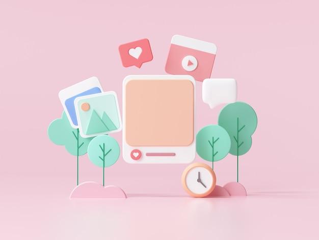 Social media with photo frame on pink background for webpage banner. 3d render illustration