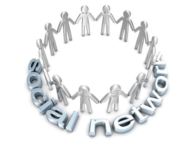 ソーシャルネットワーク。輪になって立っているアイコンの人々のグループ。 3dレンダリングされたイラストレーション。