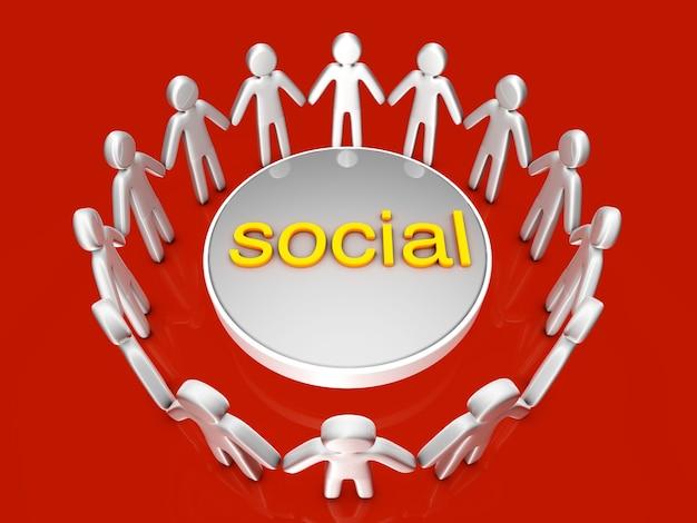 ソーシャルネットワーク。円の中に立っているアイコンの人々のグループ。